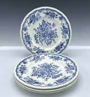 "4 Kensington Balmoral Blue Staffordshire England Ironstone 10"" Dinner Plates"