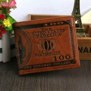Mens Leather Wallet Bill Money Billfold US 100 Dollar Safe Purse Bifold US FAST
