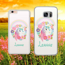 PERSONALISED UNICORN FLOWER RAINBOW  CUTE Phone Case Cover for iPhone Samsung