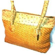 Joan & David Ostrich Leather Shoulder Bag Purse Shopper Tote Couture Woven $1350