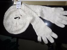 NWT RALPH LAUREN Beret hat long gloves set crotchet cable knit ivory green label