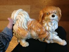 Beautiful Vintage Large Ceramic Shih Tzu Dog Statue/Figurine With Free Shipping