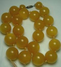 VTG bakelite butterscotch Beads 14mm W/ sterling clasp needs restring 51.7 Grams