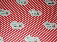 VTG MERRY CHRISTMAS WRAPPING PAPER GIFT WRAP NOS CANDY CANE STAGECOACH