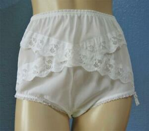 VINTAGE SILKY SHEER WHITE NYLON PANTIES KNICKERS - LACE TRIM - Med - NWT