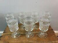 Vtg 7- Anchor Hocking Wexford Waffle Pattern Pressed Glass Wine Glasses Goblets
