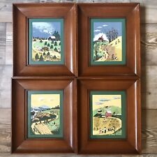 4 Margo Alexander Listed Artist Hand Painted Framed Serigraph Folk Provincial