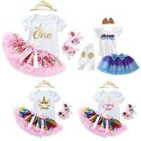 Baby Girl 1st Birthday Party Outfit Princess Romper Tops Tutu Skirt 4PCS Clothes