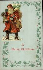 Christmas - Unusual Paper Cut-Out of Santa Claus on Postcard c1910