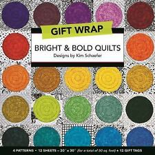 Bright and Bold Quilts Gift Wrap : 4 Patterns, 12 Sheets--20 × 30 for a Total of