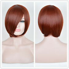 Women's Short Bob Bangs Remy Synthteic Hair Full Wigs Dark COPPER Red Wig