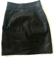 Boden Leather Skirt Dark Brown Womens Size US 2R Side Zip