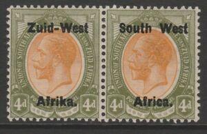 SWA MINT GV 1923 4d orange-yellow & sage-green overprint pair setting I sg5