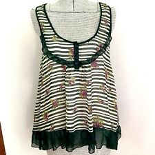 Living Doll Los Angeles Large Black & White Striped Sleeveless Sheer Tank Top
