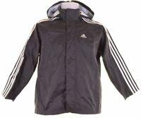 ADIDAS Boys Waterproof Jacket 9-10 Years Black Nylon  II16