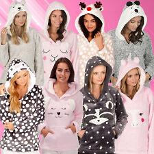 Ladies Bed Jacket With Hood Kangaroo Pocket Womes Loungewear Nightwear Animals