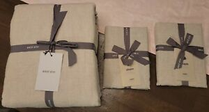 West Elm Belgian Flax Linen King Duvet Cover & Shams - Brand New