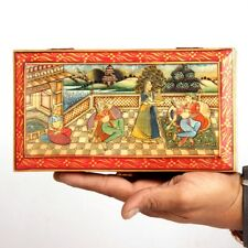 Vintage Decorative Hand Painted Mughal Solid Wood + Camel Bone Trinket  Box