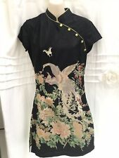 Topshop Black Green Oriental Chinese Fitted Dress Size 8 cheongsam Side Splits