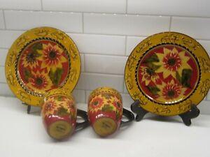 "Lot Pier 1 Imports-Sunflower Floral 8.25"" Salad/ Dessert Plates & 2 Mugs"