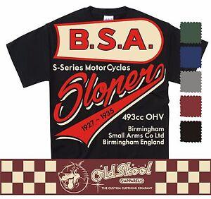BSA SLOPER T SHIRT CLASSIC MOTORCYCLE BIKER RETRO BOBBER CHOPPER CLASSIC