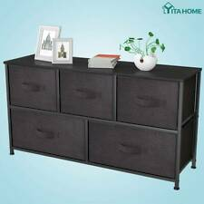 Yitahome 5 Drawers Dresser Bedroom Brown Shelf Organizer Chest Cabinet Wide Bins