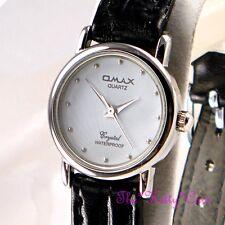 Swiss Omax Impermeable Plata blanco señoras láser Seiko Movt Reloj De Cuero sc7432