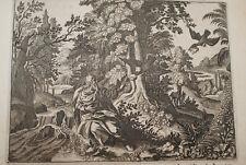 GRAVURE SUR CUIVRE CORBEAUX D'ELIE-BIBLE 1670 LEMAISTRE DE SACY  (B110)