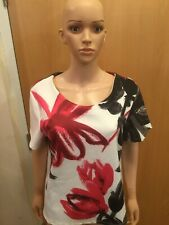Next White, Red & Black Short Sleeve Thick Top - UK Ladies Size 16