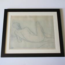 ETIENNE RET ETCHING RARE NUDE MODERNIST MID CENTURY EXPRESSIONIST CALIFORNIA