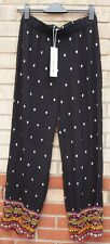 H&M Coachella Negro Tribal Azteca Multi Flare Pantalones Pantalones Bombachos FLARE 14 L