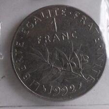 1 franc semeuse 1992 : TTB : pièce de monnaie française