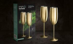 2 Brushed Gold Champagne Wine Flutes Glasses Stainless Steel Shatterproof