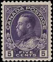 Canada #112 mint F-VF OG NH 1922 King George V 5c violet Admiral CV$110.00