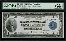 1918 $1 Federal Reserve Bank Note San Francisco FR-743 - Graded PMG 64 EPQ