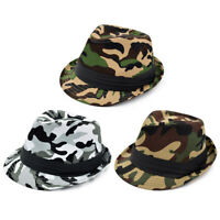 Premium Unisex Camouflage Black Band Fedora Hat - Different Colors