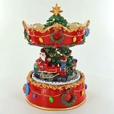 More details for christmas tree musical carousel rotating with santa on a train music box