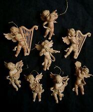 8 Fontanini Depose Italy Christmas tree ornaments cherubs 3.5-4 inches