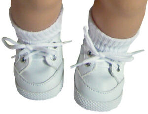 """White Gym Shoes Top Quality made for 15"""" American Girl Bitty Baby Doll Clothes"""