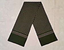 VINTAGE AUTHENTIC GEOMETRIC ART GREEN BROWN DOUBLE LONG MEN'S SCARF