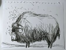 Buffalo Sketch - artwork by Clive Barker - 8.5x11in - Ink on paper