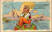 Coming home  soon • Fishing Humor • 1946 Vintage Postcard AA-003