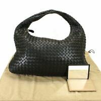 Bottega Veneta Intrecciato Handbag Hand Tote Shoulder Bag Black Leather Used