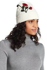 Kate Spade NY Crochet Poppy Embroidered Beanie Winter Hat Cream w/Red O/S NWT