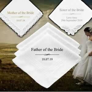 Mother Father of the Bride Personalised Handkerchief Wedding Gift