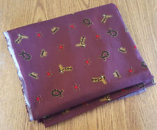 Fabric-Cowboy Theme-44x72-Maroon-Cotton-Vtg-Hat Rope Boot Star Western Country