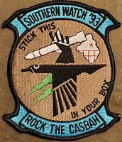 USN NAVY SOUTHERN WATCH '93: ROCK THE CASBAH: STICK THIS IN YOUR BOX COLOR PATCH