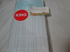 New Barbara Barry SUBTLE STRIE - Prism King Pillowcase Pair ~ Blue/Sage Stripe