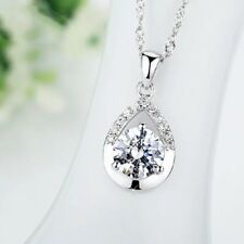 New 925 Sterling Silver Pear Pendant Necklace Chain Ladies Womens Jewellery UK