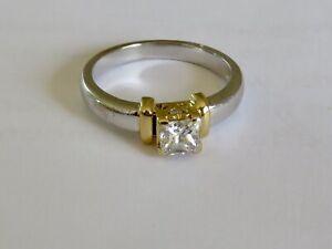 STUNNING 45 POINT H/VS PRINCESS CUT SOLITAIRE DIAMOND RING IN 18K BI-COLOUR GOLD
